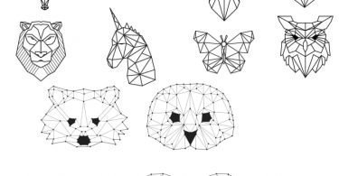 free vector download Geometric Animals DXF file