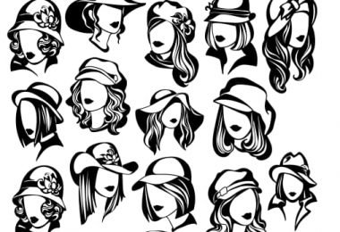 Vector Silhouette Woman Face