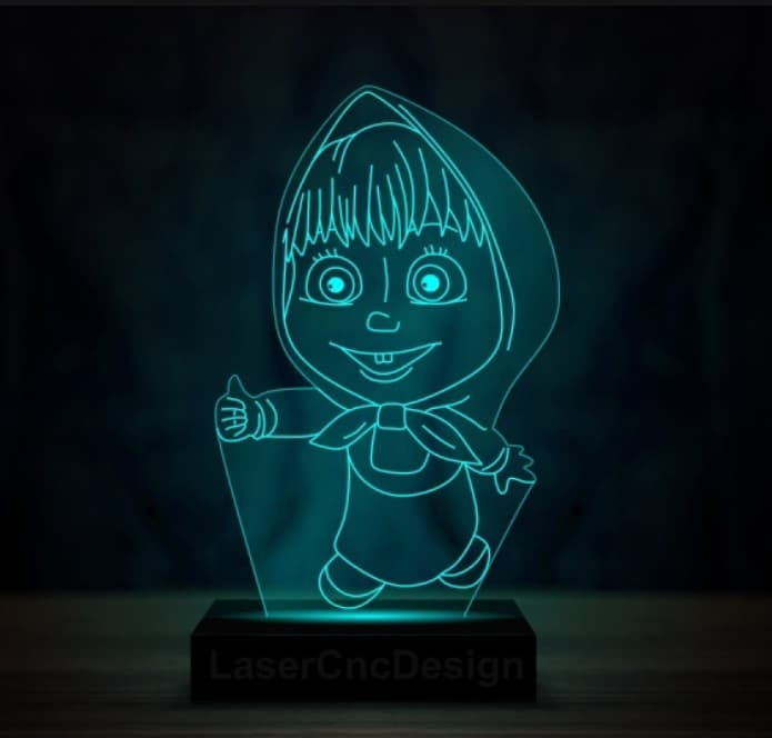 Laser Cutting DXF Masha 3D Lamp vector DXF free download