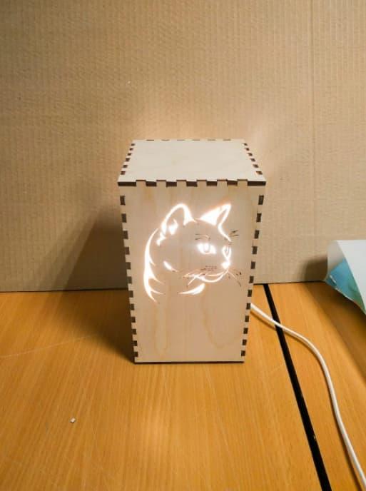Free Laser Cut Kitty Cat Light Lamp Free Vector